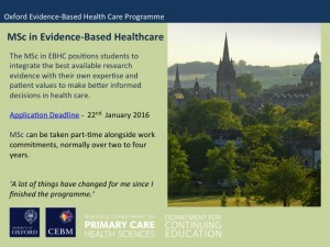 Closing date for applications - 22nd January 2016