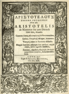 The first London edition of Aristotle's Art of Rhetoric (Edward Griffin, 1619)
