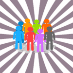 Simple illustration: a group of people, each one a different bright colour; surrounded by grey and white stripes creating the illusion of perspective.