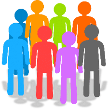 Simple illustration: a group of people, each a different bright colour.