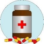 Illustration: a pill bottle surrounded by yellow and red pills.