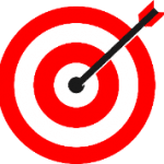 Illustration: a red target with an arrow in the bullseye.