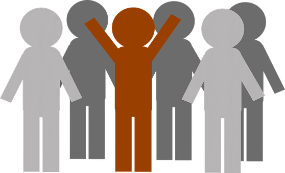 Illustration: a group of figures. The figures in the background are shades of grey, there is one red figure at the front holding its arms above its head.