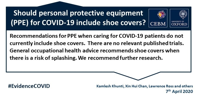 What Is The Evidence That Covid 19 Personal Protective Equipment Should Include Shoe Covers The Centre For Evidence Based Medicine
